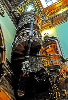 Beautiful spiral staircase in Peles Castle, Romania Beautiful Architecture, Beautiful Buildings, Romanian Castles, Peles Castle, Roof Ceiling, Ceiling Art, Interesting Buildings, Stairway To Heaven, Abandoned Buildings