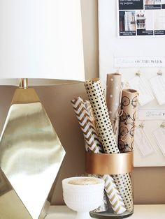 Storing wrapping paper in plain sight