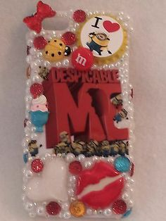 MINION Case Homemade Cover Handmade Rhinestones Fits iPhone 5 5s Hearts