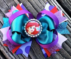 ARIEL Hair Bow Boutique Style Little Mermaid by PolkaDotzBowtique, $8.99