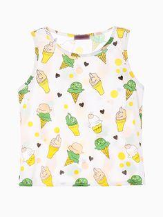 Cute Ice Cream Prin Vest   Choies