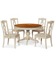 Branchville White Round 5 Piece Dining Room Furniture Set