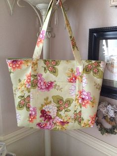 Buy Extra large tote.  Measures 15 x 13 x 5.  Beautiful greenish floral pattern.  Great for shopping   by leahssewingcreations. Explore more products on http://leahssewingcreations.etsy.com