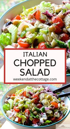 Chopped vegetables artichokes hearts of palm olives chick peas salami and m Italian Chopped Salad, Chopped Salad Recipes, Salad Recipes For Dinner, Dinner Salads, Healthy Salad Recipes, Chopped Salads, Healthy Italian Recipes, Vegetable Salad Recipes, Green Salad Recipes