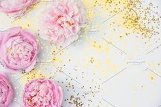 Pink Peony Photo with Gold Glitter by Charmingly Savvy on @creativemarket