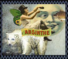Absinthe. Original Photoshop collage. (Ms. Sadie)
