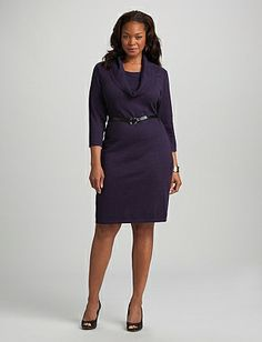 Plus Size Cowl Neck Belted Sweater Dress
