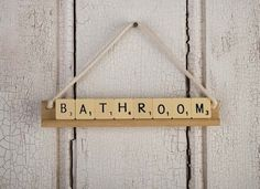 Scrabble Tile Crafts - Board Game Crafts - 8 Ways to Repurpose - Bob Vila Bathroom Door Sign, Bedroom Door Signs, Room Signs, Scrabble Tile Crafts, Scrabble Letters, Old Board Games, Old Games, Game Boards, Quirky Home Decor
