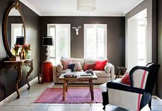 cozy living room #gray #red #brown