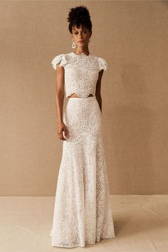 Two piece lace wedding gown that is affordable. Boho chic.  #ad #bohowedding 2 Piece Wedding Dress, Wedding Dress Separates, Bridal Separates, Bhldn Wedding, Wedding Gowns, Lace Wedding, Dream Wedding, Nontraditional Wedding Dresses, Rustic Wedding