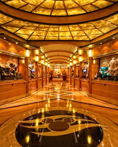 View of the main lobby of a Disney Cruise Ship.