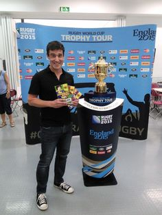 Look who else is here! @tompalmerauthor is pleased as punch to get a photo with the cup! @BarringtonStoke #RWC2015