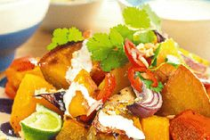 Roasted kumara & pumpkin salad with coconut, chilli and lime dressing recipe, NZ Woman's Weekly – visit Food Hub for New Zealand recipes using local ingredients – foodhub.co.nz