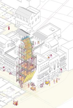 Urban Strategies to Regenerate Public Space By Almudena Cano Pineir Architecture Collage, Industrial Architecture, Architecture Board, Architecture Drawings, Architecture Design, Architecture Illustrations, Building Layout, Space Projects, Panel