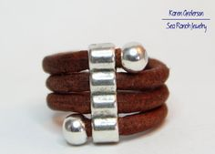 Leather Boho Ring With Silver Focals  by SeaRanchJewelry on EtsyThe cords are 3mm
