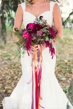 deep pinks and greenery wedding bouquet #bouquet #bridalbouquet #weddingchicks http://www.weddingchicks.com/2014/02/13/romance-in-the-woods-wedding-inspiration/