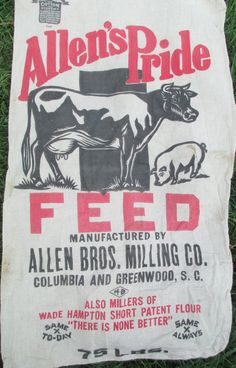 Vintage Cow Pig Feed Sack Allen's Pride Feed by AStringorTwo Cow Feed, Vintage Labels, Vintage Fonts, Pig Crafts, Feed Bags, Vintage Farm, Old Signs, How To Make Pillows, Displaying Collections
