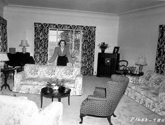 Ida Lupino in the living room of her Brentwood home, 1939.
