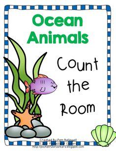 Count the Room with this fun Ocean themed activity! Ocean Animal Crafts, Ocean Crafts, Pre School, School Days, School Stuff, Preschool Math, Kindergarten Classroom, Underwater Animals, Fish Ocean