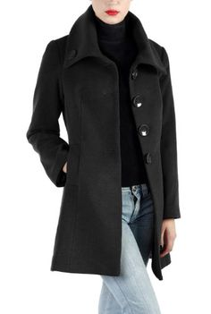 Phistic Women`s Cashmere Blend Wing Collar Coat in Black or Pecan $99.99