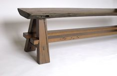 Custom Made Rustic Bench Made With Reclaimed Barnwood And Oak Slab