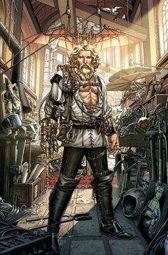 Leonardo Da Vinci's impact on history is legendary. The quintessential Renaissance Man, Da Vinci did things hundreds of years ahead of hi. Steampunk Kunst, Steampunk Design, Steampunk Fashion, Character Concept, Character Art, Concept Art, Character Ideas, Character Design, Diesel Punk