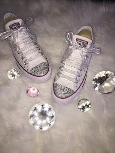1e4c8785b436 Items similar to Stunning white low top converse for any occasion! on Etsy