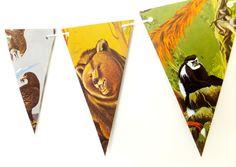 Animals Bunting, Animal Garland, Recycled Paper Garland, eco-friendly banner, Nursery Decor, Playroom Decor