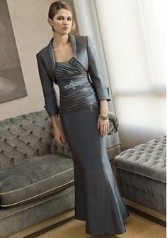 Gray Strapless Dress With Ruche Patterns And Bolero [MB1218] - $187.00 : LuxeBlue Quality Discount Wedding Dresses & Formal Gowns