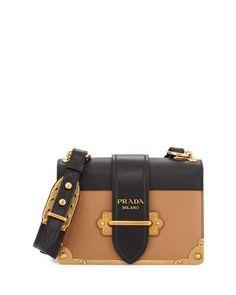 PRADA Cahier Notebook Shoulder Bag, Caramel/Black (Caramel/Nero). #prada #bags #shoulder bags #leather #lining #