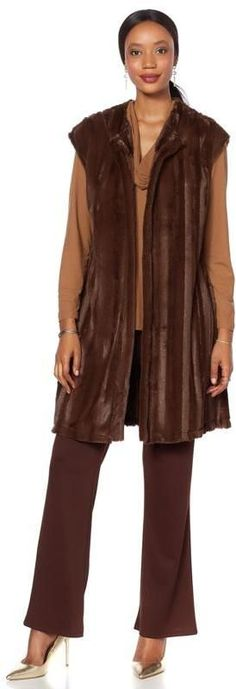 Slinky Brand Faux Fur Mink Drop-Shoulder Long Duster Vest