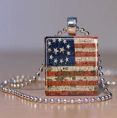 Vintage American Flag - Patriotic Upcycled Scrabble Tile Pendant or Tie Tack. $7.95, via Etsy.