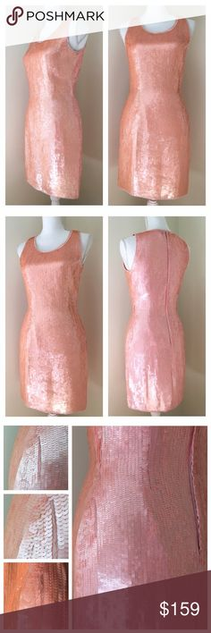 """Scala Pink Sequin Shift Dress small Scala pink sequin shift prom dress 100% put silk with polyester lining. Beaded neckline and hem. Approximate Measurements (taken flat): 15.5"""" armpit to armpit, 13.75"""" across waist, 17.5"""" across hip, 35"""" long from shoulder to hem. Simply gorgeous! ***good pre-loved condition. One string of sequins missing on left back/hip ***see photos for most accurate description 🎀Search my closet for my size to bundle and SAVE🎀 Scala Dresses Prom"""