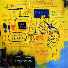 1983  J.M. Basquiat  Hollywood Africans  Acrylique Crayon gras sur toile  213,4x213,4 cm  New York Whitney museum of American Art #Graffiti #NewYork #Design