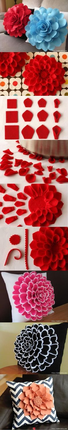 diy Felt Flower Pillow tutorial - sofa decoration, felt flowers crafts - what' beautiful! diy felt flowers tutorial that are too beautiful to ignore by xiaoxiao Felt Flowers, Diy Flowers, Fabric Flowers, Paper Flowers, Dahlia Flowers, Felt Roses, Fondant Flowers, Fondant Bow, Flower Bird