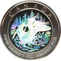 2002 Canada 1 oz Silver Hologram Anniversary Loon With Box COA http://www.gainesvillecoins.com/