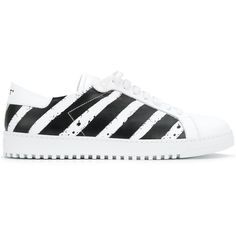 Off-White striped sneakers ($500) ❤ liked on Polyvore featuring men's fashion, men's shoes, men's sneakers, white, mens round toe dress shoes, mens white shoes, mens leather lace up shoes, mens white leather shoes and mens rubber sole shoes