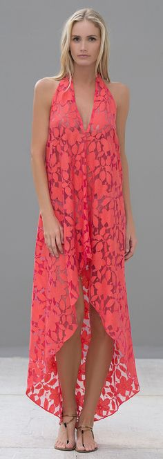 Coral Maddox Halter Coverup / Dress by Alexis