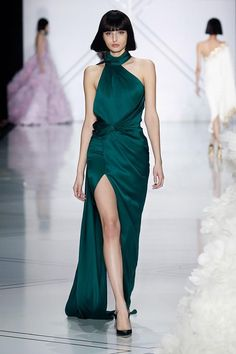 Forest green silk double satin gown with asymmetric skirt, bodice and choker.