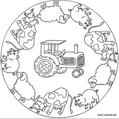farm animal mandala coloring page  |   Crafts and Worksheets for Preschool,Toddler and Kindergarten