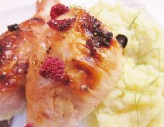 Raspberry Lemon Honey Chicken with Cauliflower Potato Fennel Mash.