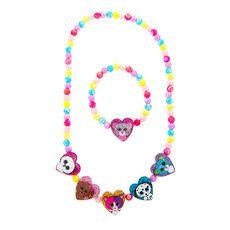 50fee3e1231 Ty Beanie Boos Glitter Heart Shaped Beaded Necklace and Bracelet Set Beanie  Boo Party