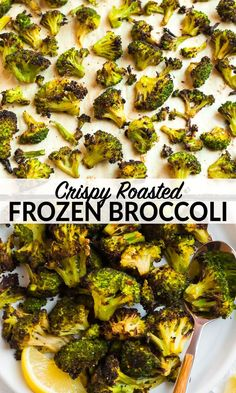 How to make roasted frozen broccoli in the oven. This easy method makes crispy frozen vegetables and is such a timesaver. Perfect for fast, healthy sides and it tastes just as good as fresh! Roast Frozen Broccoli, Frozen Broccoli Recipes, Roast Broccoli And Cauliflower, Brocolli Recipes, Cauliflower Recipes, Veggie Recipes, Vegetarian Recipes, Healthy Recipes, Vegetables