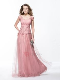 #NewYear #TideBuy - #TideBuy A-Line Appliques Sweetheart Cap Sleeves Long Evening Dress Designed - AdoreWe.com