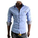 TheLees Mens Casual Long Sleeve Stripe Patched Fitted Dress Shirts,Sale: $26.99