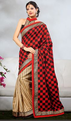 Beige and Red Bhagalpuri Silk Half N Half Saree Price: Usa Dollar $76, British UK Pound £45, Euro56, Canada CA$82 , Indian Rs4104.