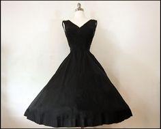 Vintage 1950's Black Taffeta Cocktail Dress by FirstLoveLastLove