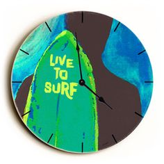 Live To Surf Unique Wall Clock by Artist Lisa Weedn