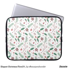 Elegant Christmas Floral Pattern | Laptop Sleeve Elegant Christmas, Christmas Fun, Custom Laptop, Personalized Products, Laptop Sleeves, Create Your Own, Floral, Pattern, Gifts