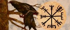 The Ravens were the iconic and magical birds in the Viking time. Mainly because ravens were much related to Odin while the Vikings worshipped Odin the most in their belief. The Vikings held a firm belief that the ravens were the ears and eyes of Odin who was the God of War in Norse myth. Thereby, the Vikings would bring any symbol or image of raven into their battles in order to call for Odin's help. A pair of ravens would mean Odin was there to support and protect them. Vikings Time, Norse Vikings, Viking Symbols, Ancient Symbols, Nordic Compass, God Of Lightning, Viking Raven, Old Norse, Mandalas
